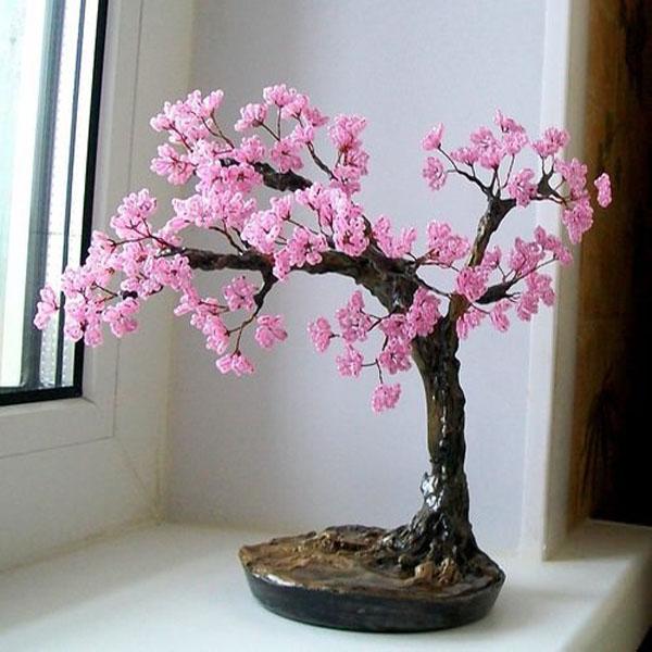 Как сделать дерево сакуру из бисера своими руками для начинающих